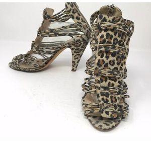 Loeffler Randall Leather Suede Sandals Leopard Zip